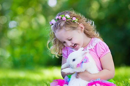 Little girl with her pet rabbit