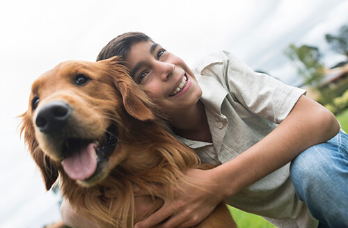 Young Boy and Golden Retreiver